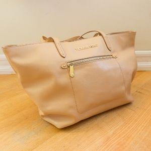 Victoria Secret beige gold leather tote bag